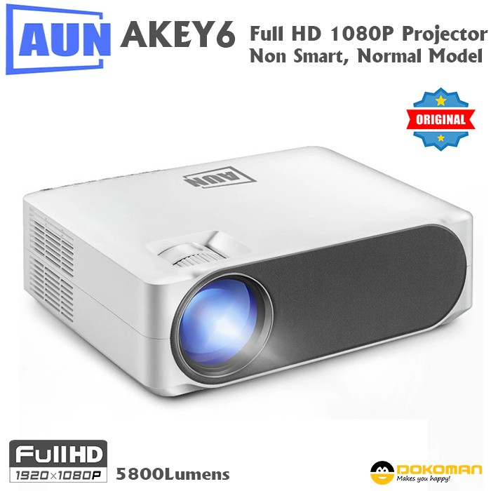 AUN AKEY6 LED Projector, Non Smart, Normal Real Full HD 1920x1080P, 5800Limens