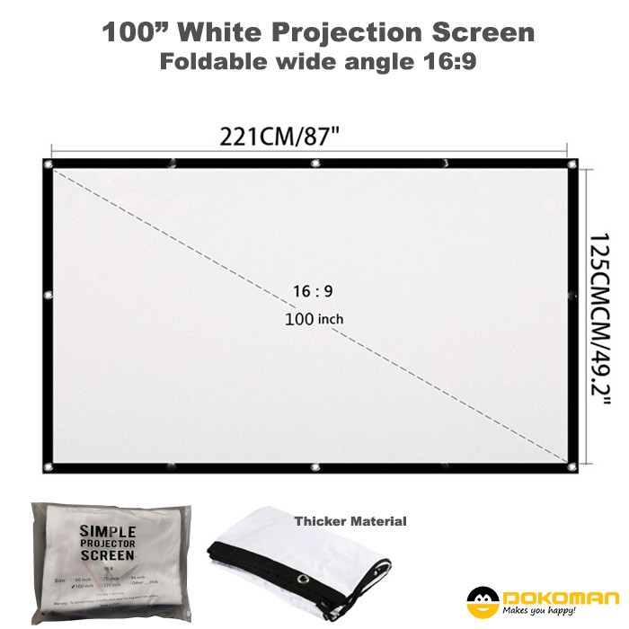 """100"""" Folding Projector Screen, White Thick Material"""